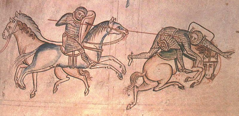 William Marshal at a joust unhorses Baldwin Guisnes. From the Historia Major of Matthew Paris, Cambridge, Corpus Christi College Library, vol 2, p. 85.