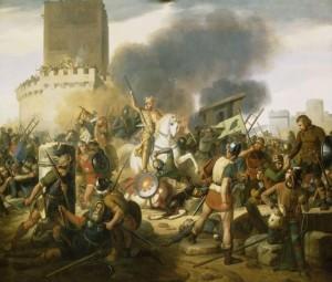 Count Odo defends Paris against the Norsemen, romantic painting by Jean-Pierre Franque (1837), Galerie des Batailles