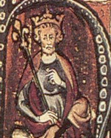 A 13th-century portrait of Cnut the Great showing him as a king of Christendom.