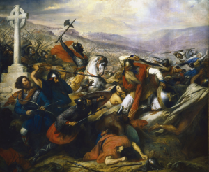 Charles de Steuben's Bataille de Poitiers en octobre 732 depicts a triumphant Charles Martel (mounted) facing 'Abdul Rahman Al Ghafiqi (right) at the Battle of Tours