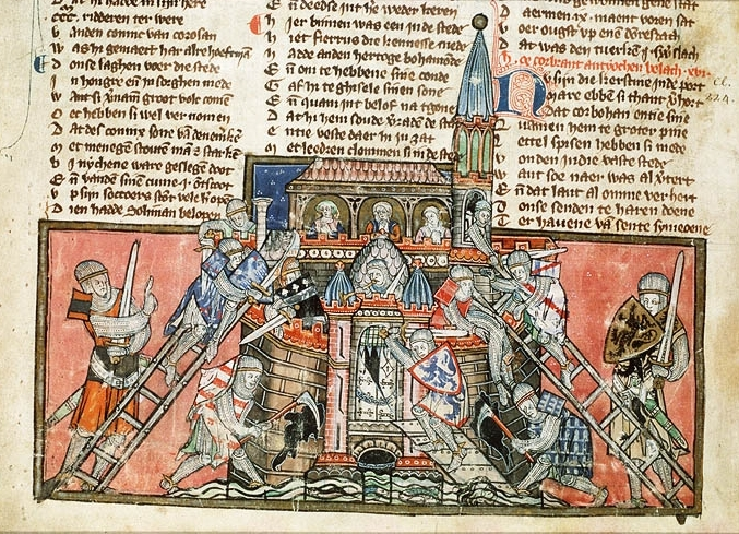 A 14th-century depiction of the crusaders' capture of Antioch from a manuscript in the care of the National Library of the Netherlands