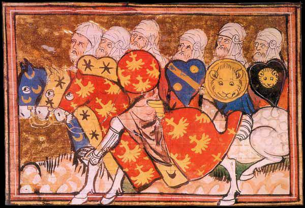 l'armée de Saladin - Guillaume de Tyr, Histoire d'Outremer. Manuscrit enluminé sur parchemin (300 feuillets, 40 x 30 cm). Paris, 1337. BnF, Manuscrits (Fr 22495 fol. 229v)