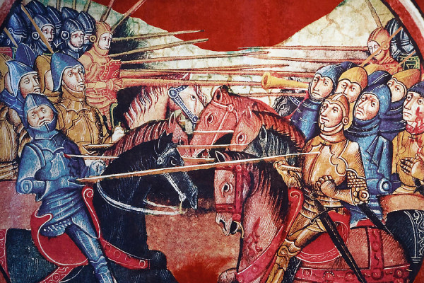Mounted Medieval Knights in battle